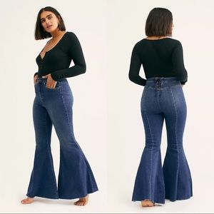 Free People Super High-Rise Lace-Up Flare Jeans